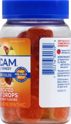 Zicam Cold Remedy Assorted Fruit Flavors Medicated Drops 25 Count Perspective: right