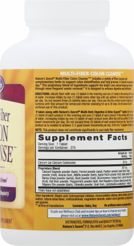 Nature's Secret Multi-Fiber Cleanse Dietary Supplement Tablets Perspective: right