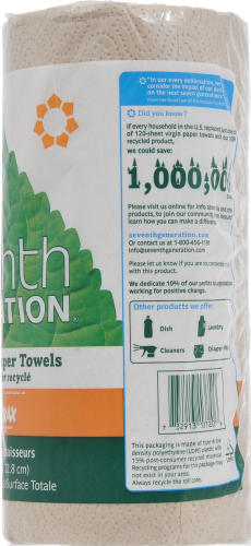 Seventh Generation Unbleached Natural Recycled Paper Towel Perspective: right