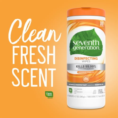 Seventh Generation Lemongrass Citrus Scent Disinfecting Wipes Perspective: right