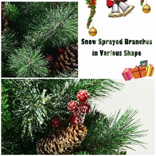 Costway 4 ft Christmas Entrance Tree with Pine Cones Red Berries and Glitter Branches Perspective: right