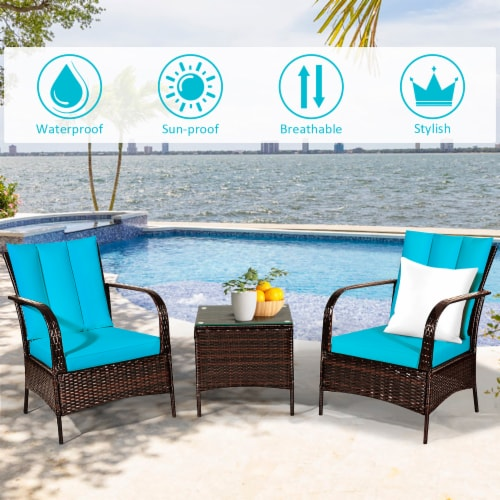 Costway 3 PCS Patio Wicker Rattan Furniture Set Coffee Table & 2 Rattan Chair W/Cushions-Turq Perspective: right