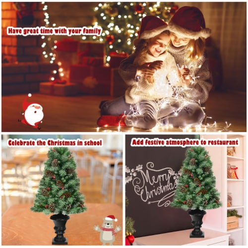Costway Set of 2 Christmas Entrance Tree 4ft w/Pine Cones Red Berries & Glitter Branches Perspective: right