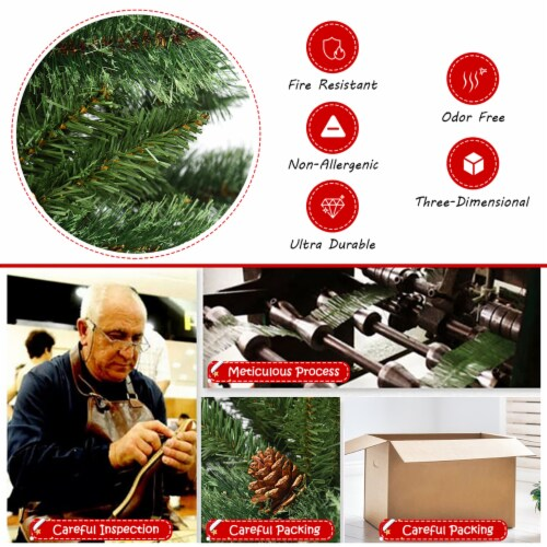 Costway 6 ft Premium Hinged Artificial Christmas Tree Mixed Pine Needles w/ Pine Cones Perspective: right