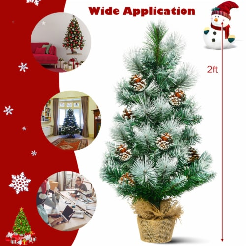 Costway 24'' Snow Flocked Artificial Christmas Tree Tabletop w/Pine Cones and Burlap Base Perspective: right