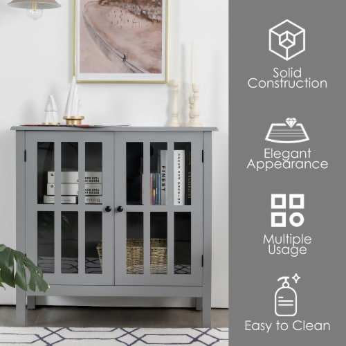 Costway Storage Buffet Cabinet Glass Door Sideboard Console Table Server Gray Perspective: right