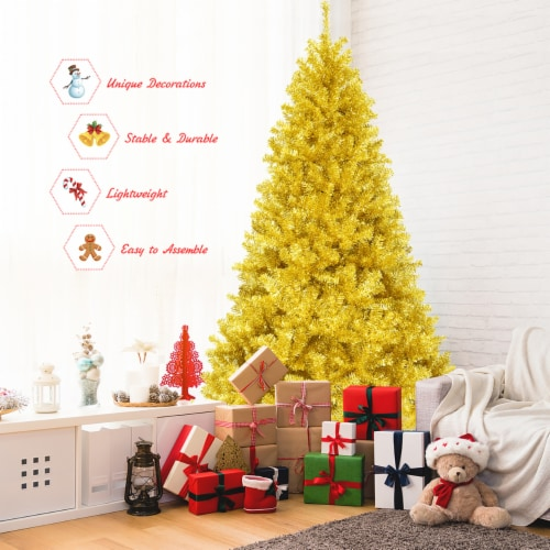 Costway 7.5ft Artificial Tinsel Christmas Tree w/1258 Tips Foldable Stand Champagne Gold Perspective: right
