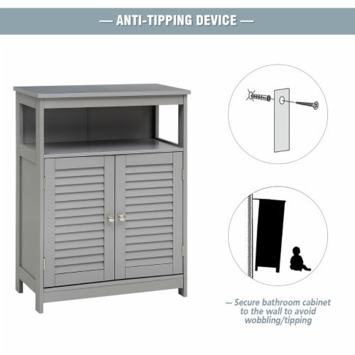 Costway Bathroom Storage Cabinet Wood Floor Cabinet w/ Double Shutter Door Gray Perspective: right