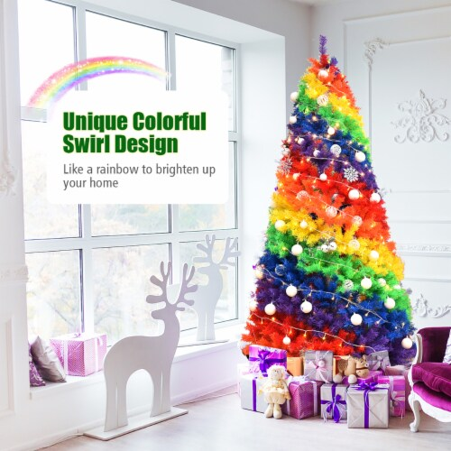 Costway 7FT Artificial Hinged Colorful Rainbow Full Fir Christmas Tree with 1213 Tips Perspective: right