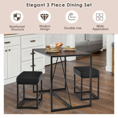 Costway 3pcs Dining Set Metal Frame Kitchen Table and 2 Stools Home Breakfast Perspective: right
