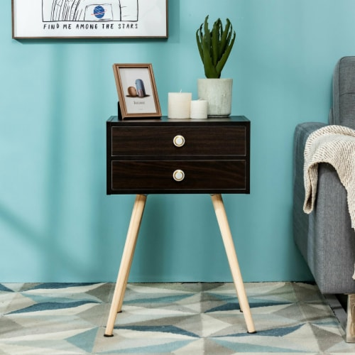 Costway Mid Century Modern 2 Drawers Nightstand Sofa Side Table End Table Espresso Perspective: right