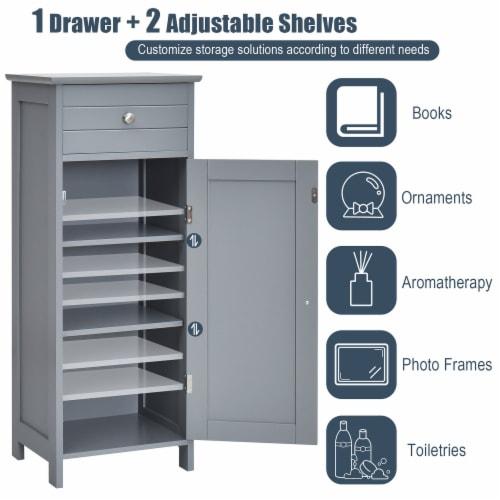 Costway Bathroom Floor Cabinet Storage Organizer Free-Standing w/ Drawer Grey Perspective: right