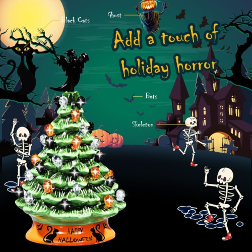 Costway 11.5'' Pre-Lit Ceramic Hand-Painted Tabletop Halloween Tree Battery Powered Green Perspective: right