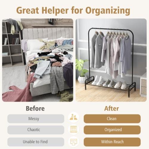 Costway Industrial Metal Garment Rack Heavy Duty Floor Cloth Rack w/ Shoe Storage Shelf Perspective: right
