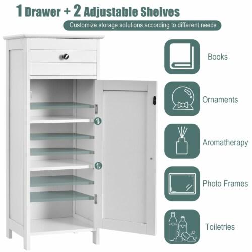 Costway Bathroom Floor Cabinet Wooden Storage Organizer Free-Standing w/ Drawer & Shelf Perspective: right