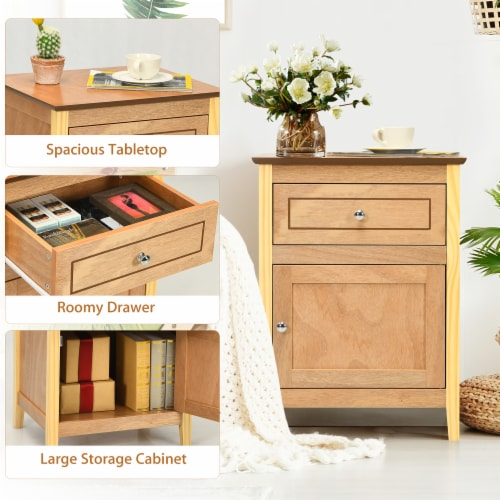 Costway Nightstand with Drawer Accent Side End Table Storage Cabinet Natural Perspective: right