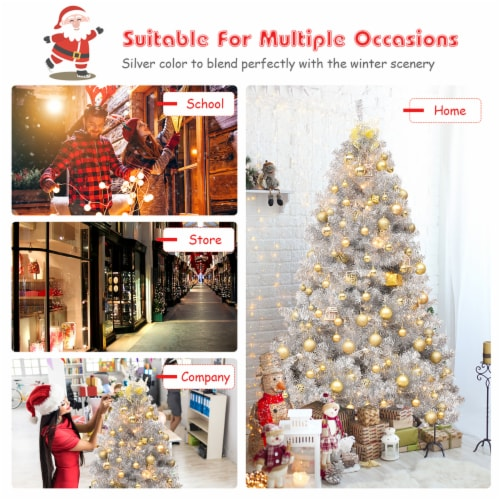 Costway 6Ft Hinged Unlit Artificial Silver Tinsel Christmas Tree Holiday w/Metal Stand Perspective: right