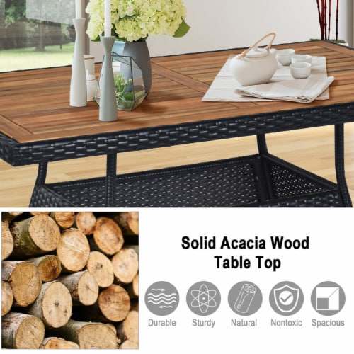 Costway 5 PCS Patio Rattan Furniture Set Wood Top Table Cushioned Chairs Garden Yard Deck Perspective: right