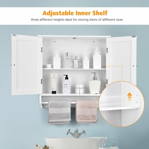 Costway Wall Mounted Bathroom Medicine Cabinet Storage Cupboard w/ Towel Bar Perspective: right