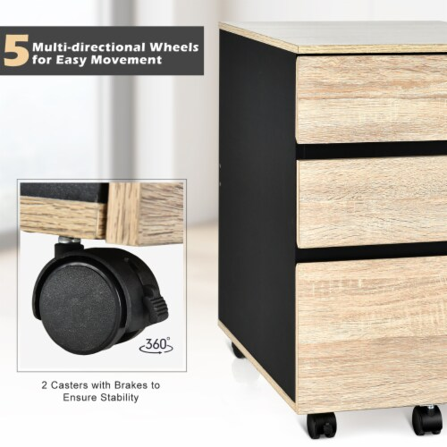 Costway 3-Drawer Mobile File Cabinet Vertical Filling Cabinet for Home Office Perspective: right