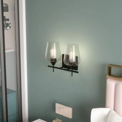 Costway 2-Light Wall Sconce Modern Bathroom Vanity Light Fixtures with Clear Glass Shade Perspective: right