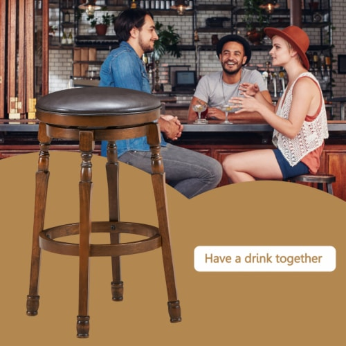 Costway Set of 2 29'' Swivel Bar Stool Leather Padded Dining Kitchen Pub Chair Backless Perspective: right