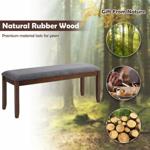 Costway Dining Bench Upholstered Entryway Bench Footstool Kitchen w/ Wood Legs Perspective: right