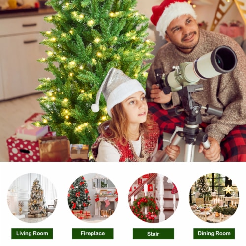 Costway 6Ft Pre-lit Artificial Pencil Christmas Tree Hinged Fir PVC Tree /250 LED Lights Perspective: right