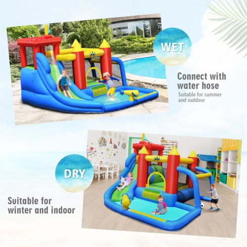 Costway Inflatable Bouncer Water Slide Bounce House Splash Pool without Blower Perspective: right
