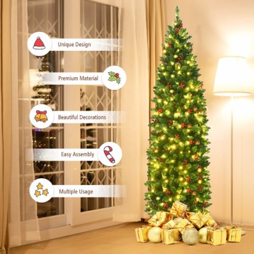Costway 6.5Ft Pre-lit Hinged Pencil Christmas Tree w/Pine Cones Red Berries & 250 Lights Perspective: right
