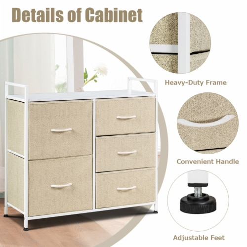 Costway 5 Drawers Dresser Storage Unit Side Table Display Organizer Dorm Room Beige Perspective: right