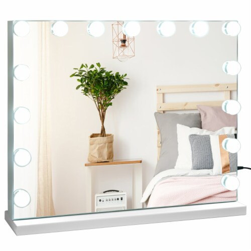 Costway Hollywood Vanity Lighted Mirror Touch Control Magnification  Speaker Perspective: right