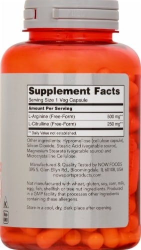 NOW Foods  Sports Arginine & Citrulline Capsules Perspective: right