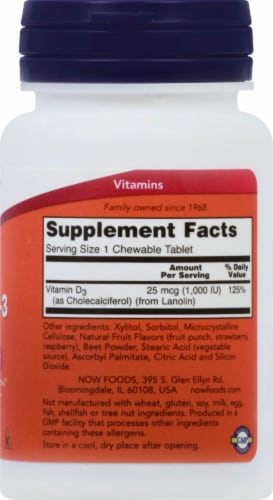 NOW Foods Vitamin D-3 Chewable Natural Fruit Flavor Tablets 1000IU Perspective: right