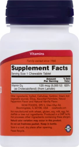NOW Foods Chewable Vitamin D-3 Natural Mint Flavor Tablets 5000IU Perspective: right