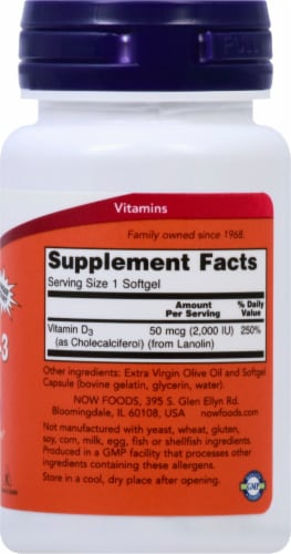 NOW Foods Vitamin D-3 Softgels 2000IU Perspective: right