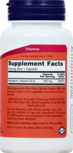 NOW Foods B-2 100 mg Capsules Perspective: right