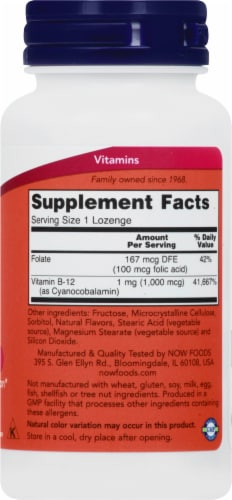 NOW Foods B-12 Lozenges 1000mcg Perspective: right