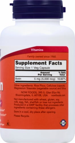Now Biotin Energy Production Vegetable Capsules 5000mcg Perspective: right