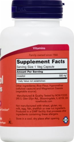 NOW Foods Inositol Capsules 500mg Perspective: right