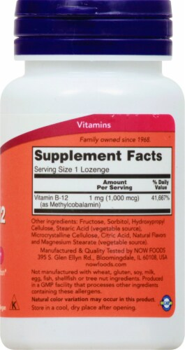NOW Foods Methyl B-12 Lozenges 1000mcg Perspective: right