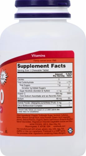 NOW Foods C-500 Orange Juice Chewable Tablets Perspective: right