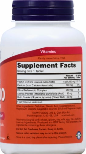 NOW Foods Buffered C-1000 Sustained Release Tablets Perspective: right
