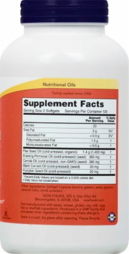 NOW Foods Omega 3-6-9 1000mg Softgels Perspective: right