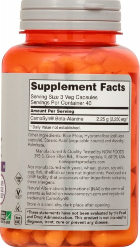 NOW Foods  Sports Beta-Alanine Capsules Perspective: right