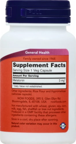 NOW Foods Melatonin 3mg Veg Capsules Perspective: right