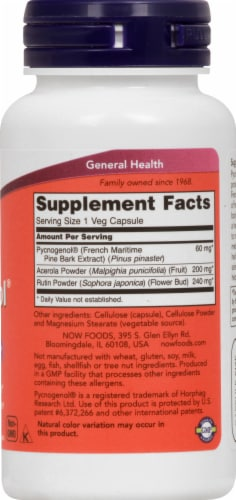 NOW Foods Pycnogenol Dietary Supplement Vegetarian Capsules 60mg Perspective: right