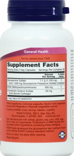 Now Glucosamine & MSM Vegetarian Capsules Perspective: right