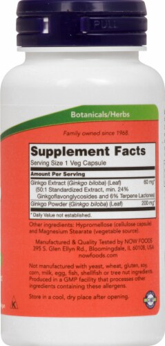 NOW Foods Gingko Biloba Brain Health Dietary Supplement Veg Capsules 60mg Perspective: right