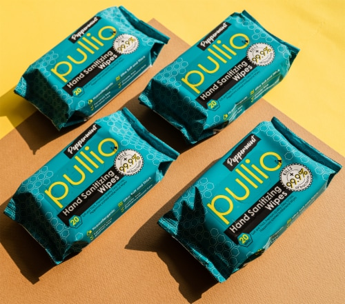 (80 Wipes) pullio - Peppermint Alcohol Free Antibacterial Hand Sanitizer Wet Wipes Perspective: right